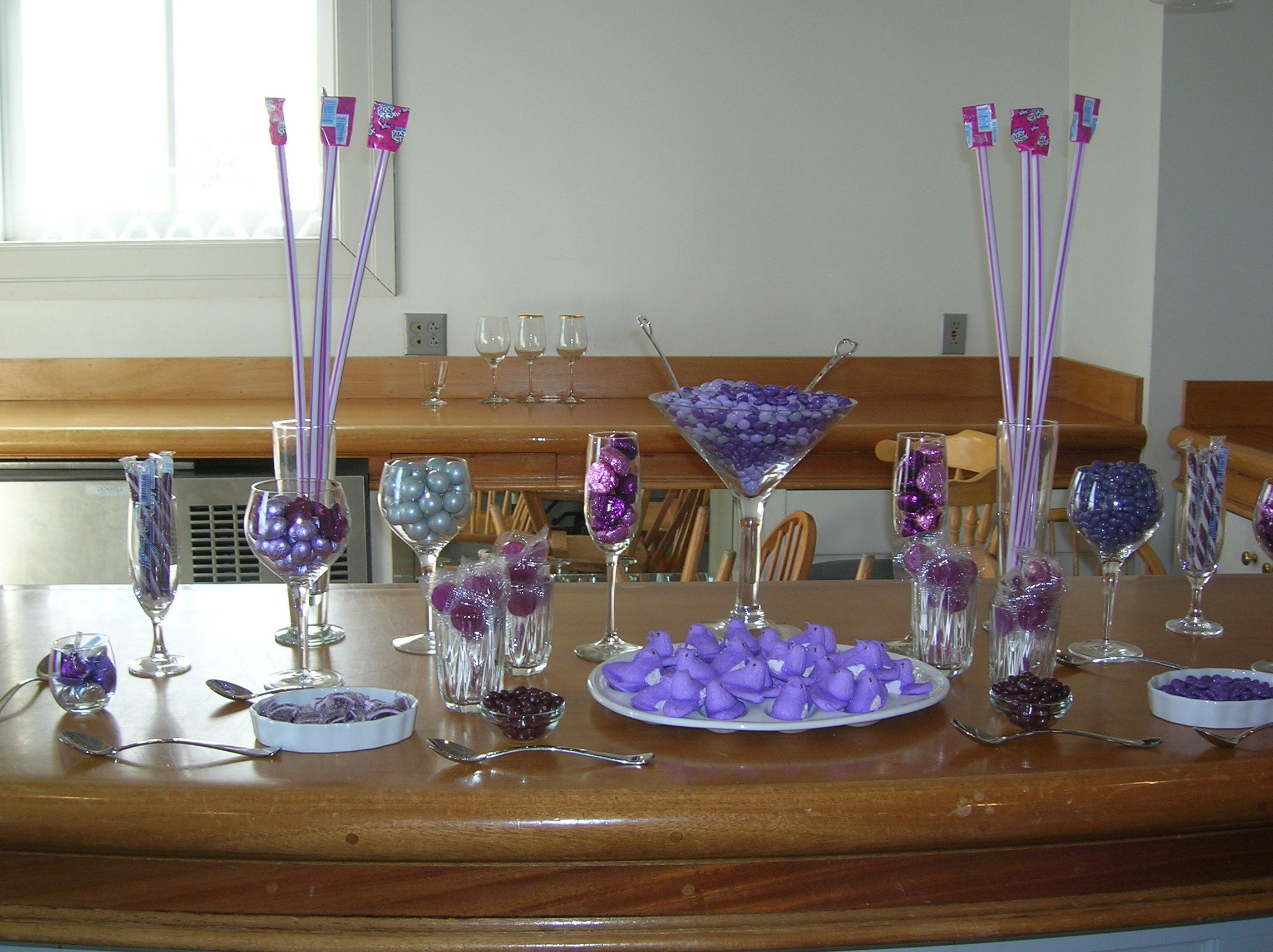 Candy Bar for my Bridal Shower - all purple candy for a purple and silver wedding
