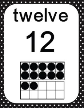 Here S A Set Of Large Size 8 5 X 11 Ten Frame Cards From 0 20 This Set Has A Black Polka Dot Border Teaching Math Everyday Math Preschool Math