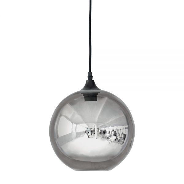 h ngelampe glasskugel ger uchertes glas smoke glass ball mit schwarzem kabel runde h ngelampe. Black Bedroom Furniture Sets. Home Design Ideas