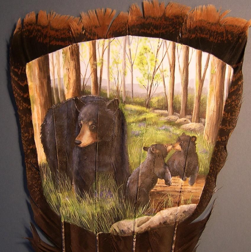 Bear with cubs, painted feather art by Gail Savage