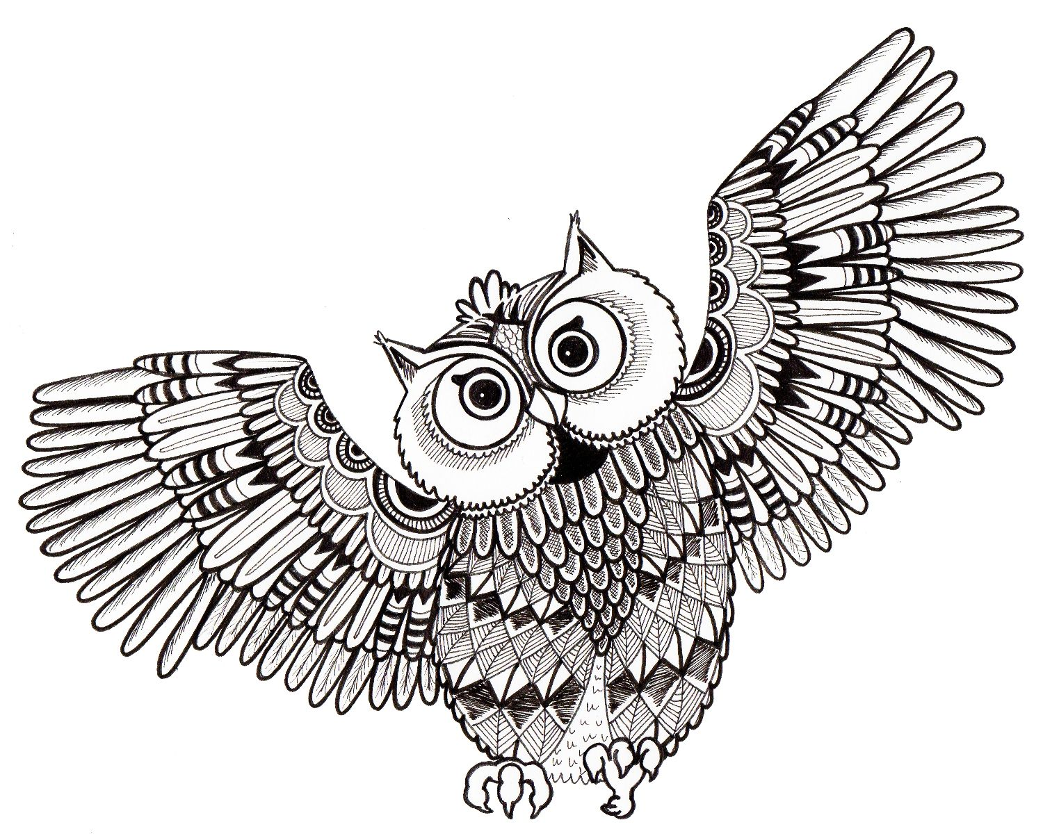 Owl design for adult colouring in. I am working on getting a book ...