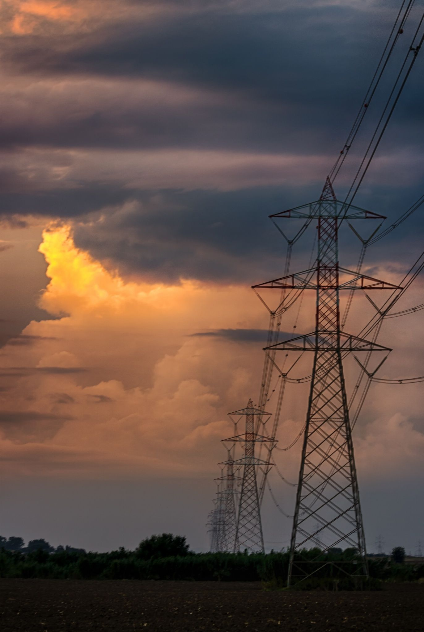 hdr test electric line and clouds by tiziano crescia on 500px transmission tower high [ 1372 x 2048 Pixel ]