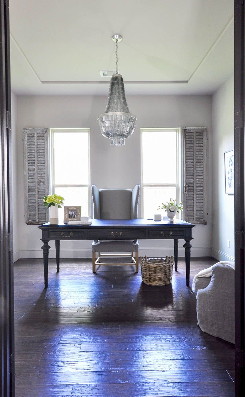 Home Office Updated With a Beautiful Chandelier Chandeliers