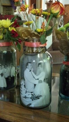 Our Table Centerpieces For My In Laws 50th Wedding Anniversary. A Large  Mason Jar,