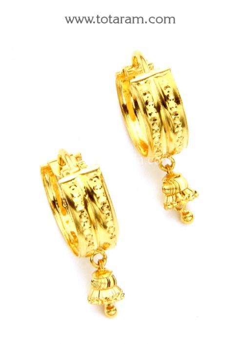 Gold Hoop Earrings Ear Bali in 22K Gold Totaram Jewelers Buy