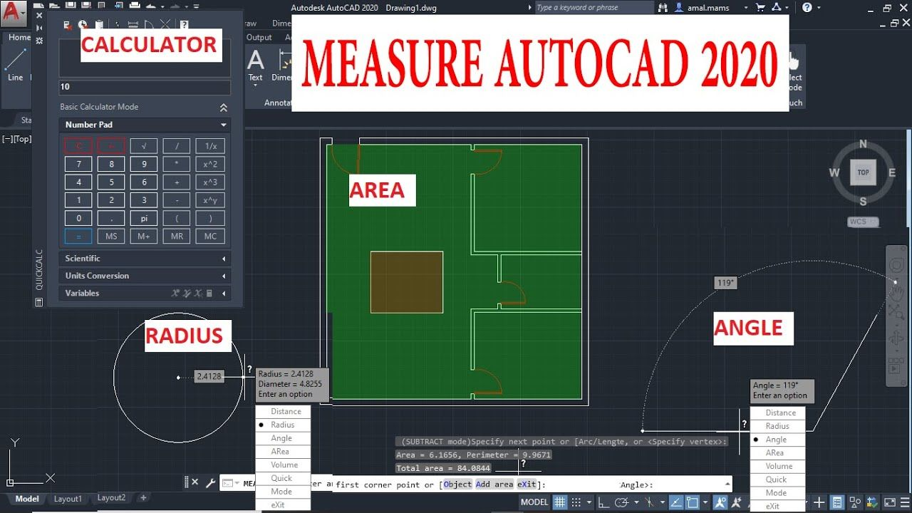 حساب المساحات والأطوال فى Distance And Area Autocad 2020 In 2020 Autocad Radii Video