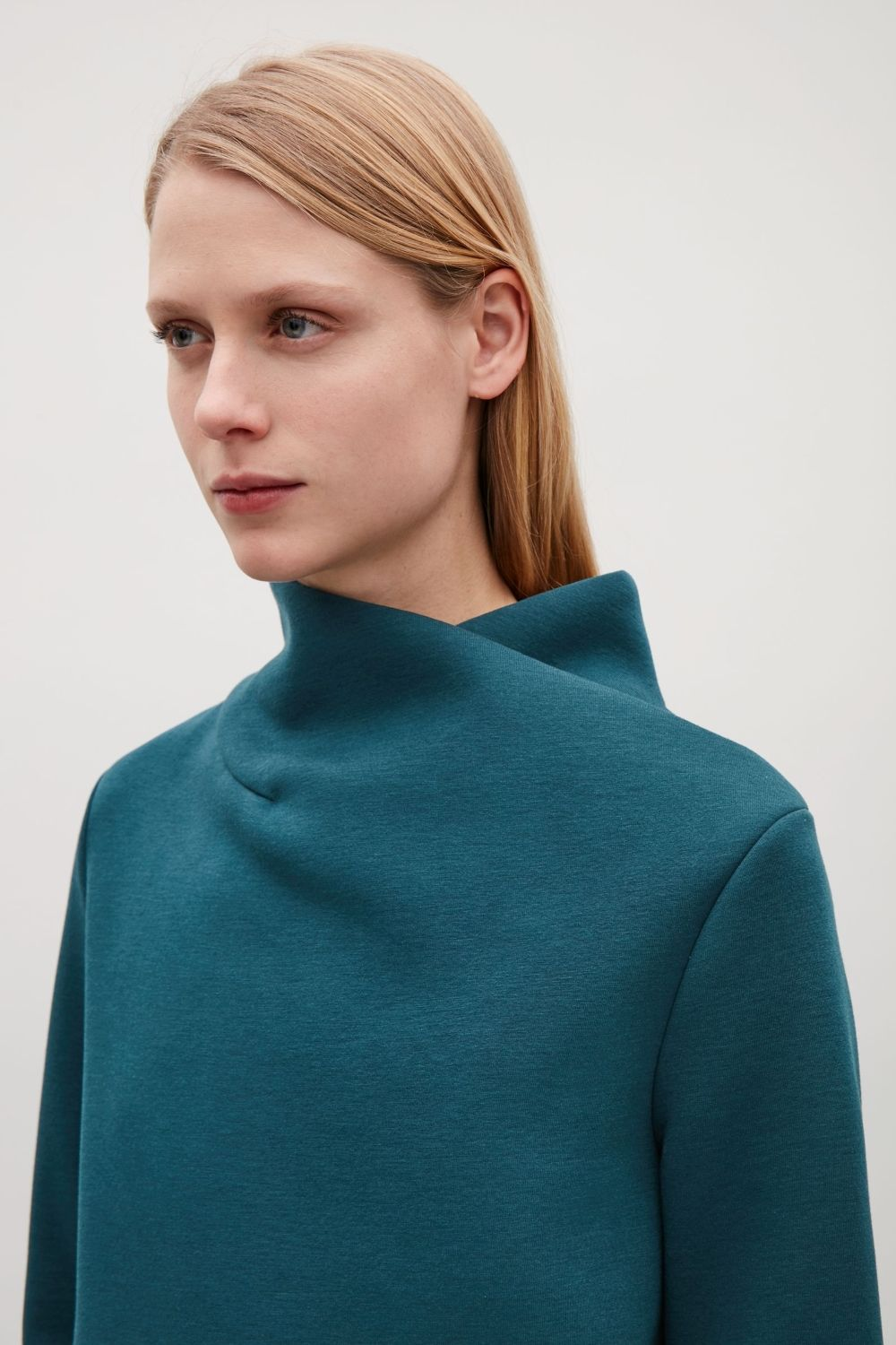 Cos green dress 2018  COS image  of Dress with draped neck in Teal  MEN  Pinterest