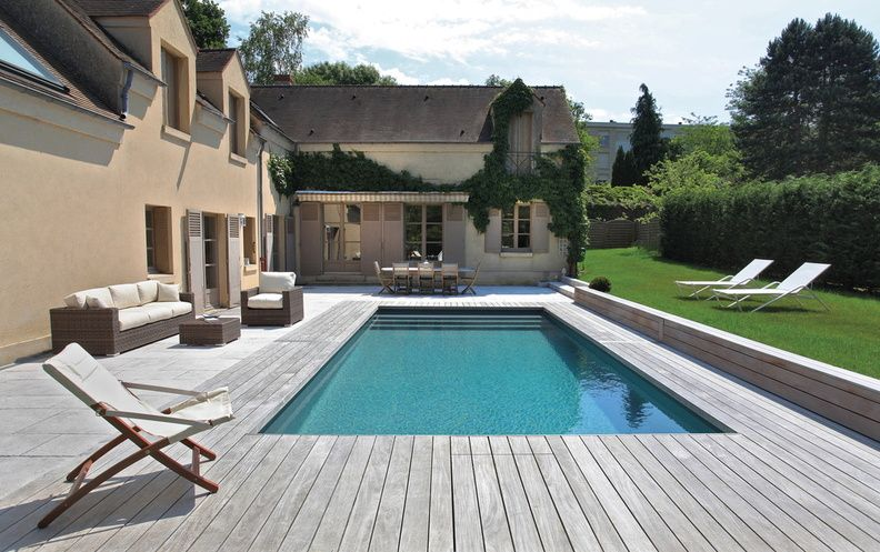 Piscine rectangulaire 8x4m liner antracite filtration pf for Agencement piscine