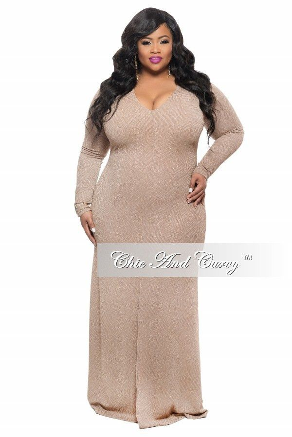 new plus size bodycon gown with front slit in gold – chic and