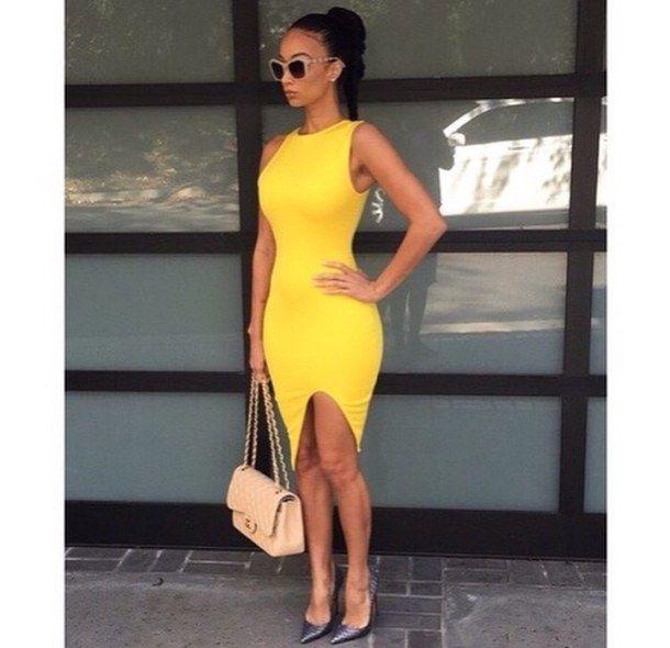 Gray white and yellow dress