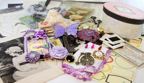 Lavender Dreams Project Scrapbook Embellishment KIT by ZeusandZoe, $28.99