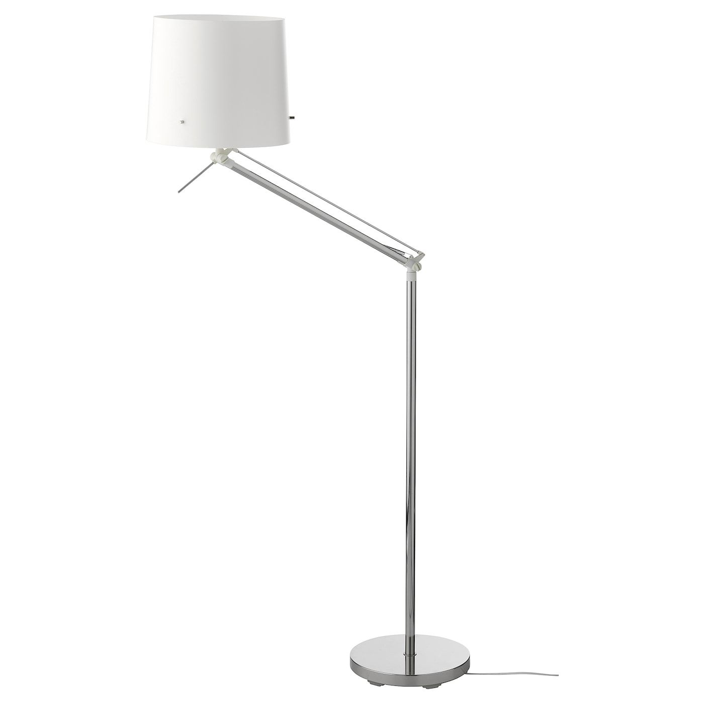 Samtid Floor Reading Lamp Nickel Plated White In 2020 White Floor Lamp Floor Lamp Arc Floor Lamps