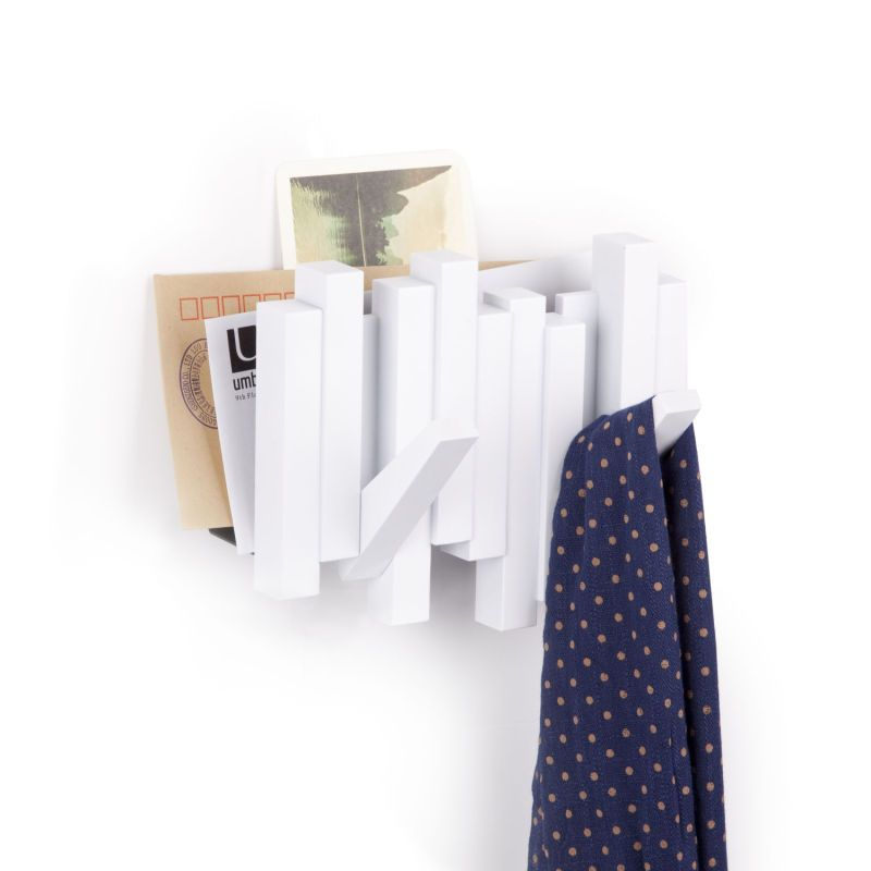 Shop Multi Hooks, Over The Door Hooks, Key Holder, Mail Holders. | Umbra ,  Sticks Wall Hook + Mail Organizer White | Umbra