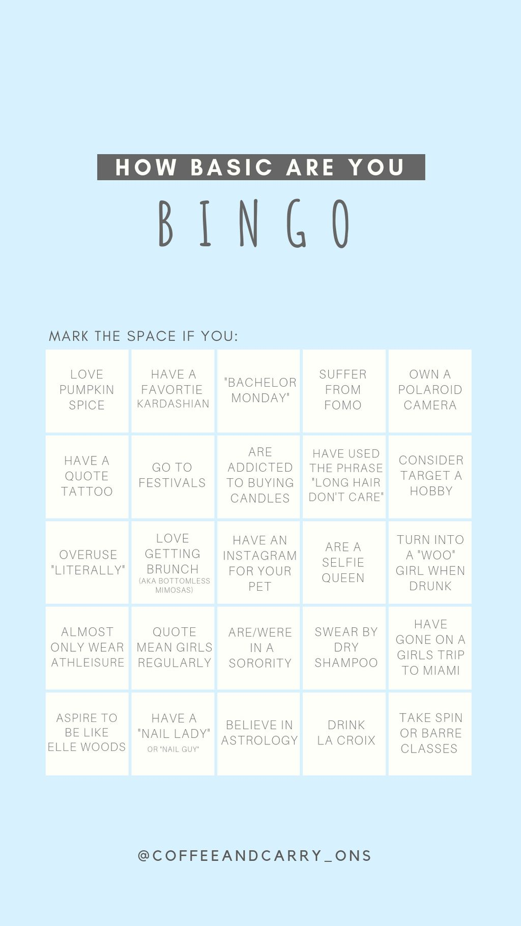 Fun Bingo Game To Post On Your Instagram Story And Tell Your