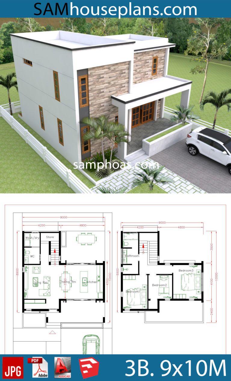 3 Bedrooms House Plans 9x10m House Plans Free Downloads Duplex House Design Model House Plan Duplex House Plans