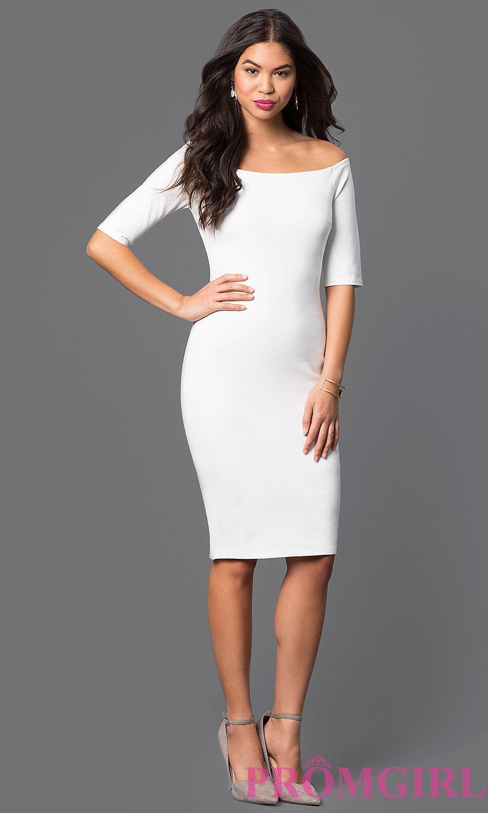 1663e44824 Fitted Off the Shoulder Knee Length Dress Style  JTM-JD4901 ...