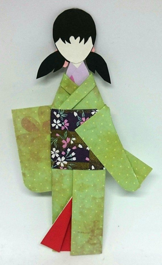 Photo of Items similar to Kimono Origami Bookmark, Paper Doll Bookmark, Geisha Bookmarks, Green Floral Garden, Handmade Paper Craft, Book Lover Gifts Ideas, Bookclub on Etsy