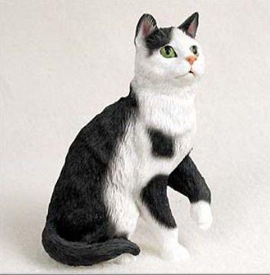 CAT NAP  BLACK WHITE CAT Figurine Statue Hand Painted Resin Gift