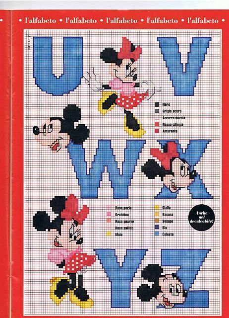 Alfabeto Punto Croce Con Disney Topolino E Minnie 4 Alfabeto