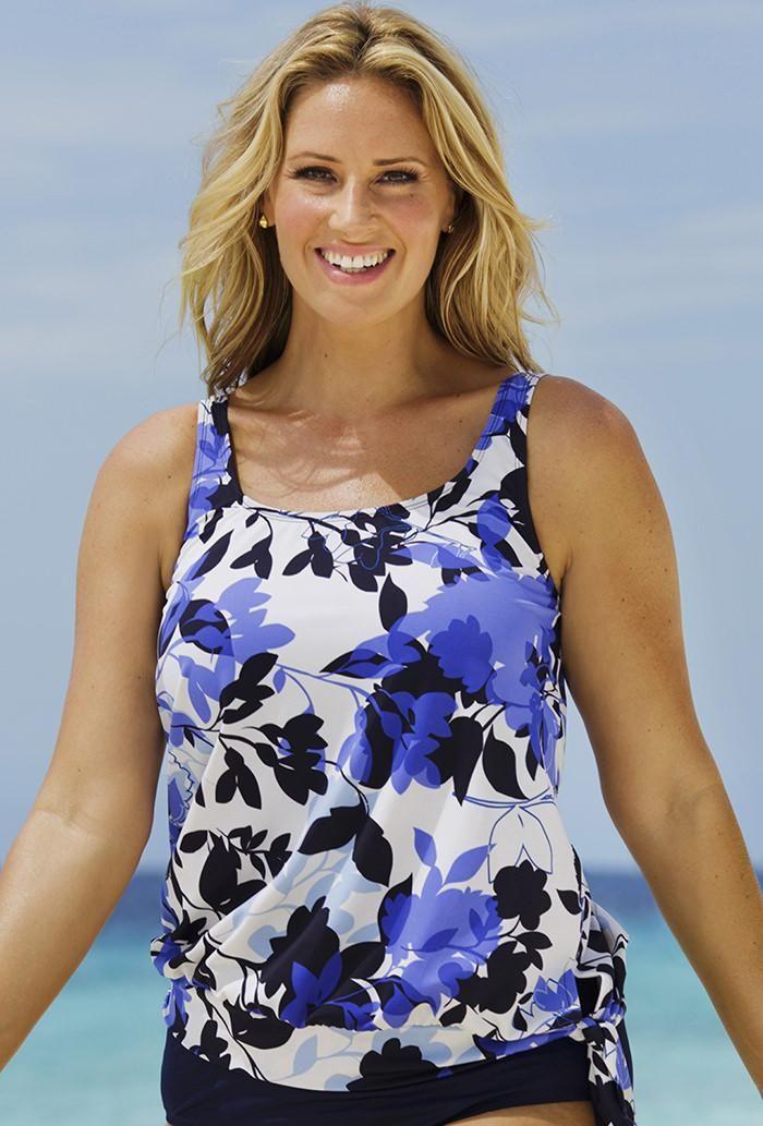 c28e83182ac1f  SwimsuitsForAll -  Beach Belle Beach Belle Deep Water Blouson 26-34 Top -