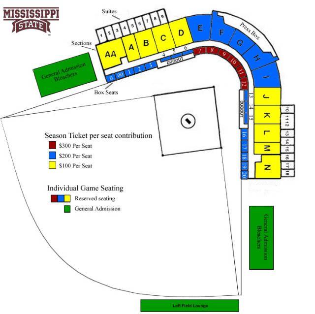 Dudy Noble Field Polk Dement Stadium Seating Chart Mississippi State University Mississippi State Season Ticket