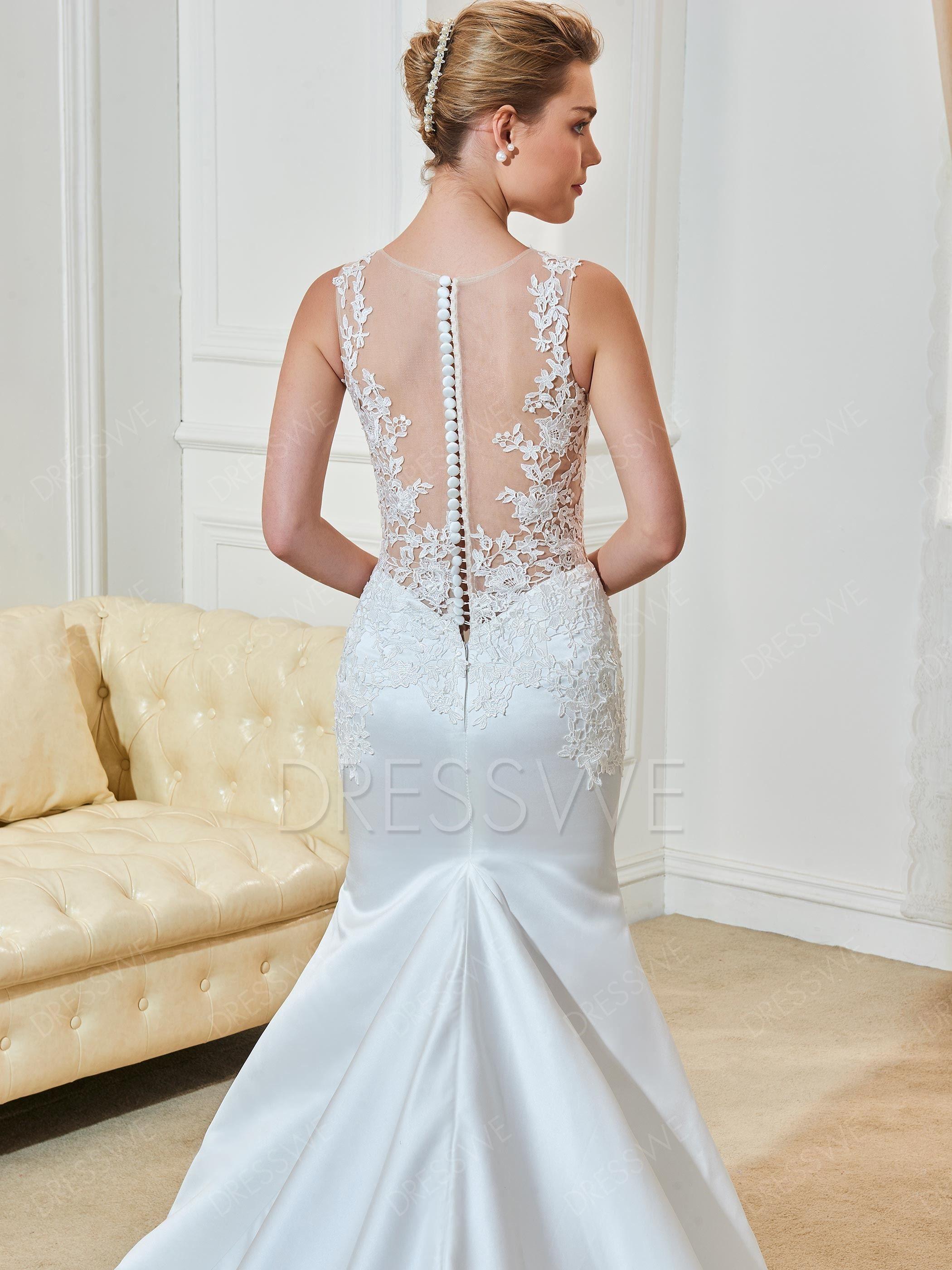 Mermaid dress wedding  Appliuqes Button Mermaid Wedding Dress  Pinterest  Mermaid wedding