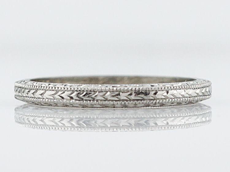 Antique Wedding Band Art Deco Chevron Engraved In 18k White Gold