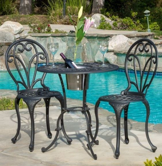 3 Pc Bistro Table Chairs Ice Bucket Outdoor Patio Furniture Set Seat Dining Deck #CK #ContemporaryModernTraditional