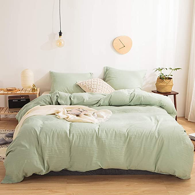 Amazon Com Move Over 3 Pieces Sea Green Duvet Cover Set Green Bedding 100 Washed Microfiber Solid Co Sage Green Bedroom Bedroom Green Green Comforter Bedroom