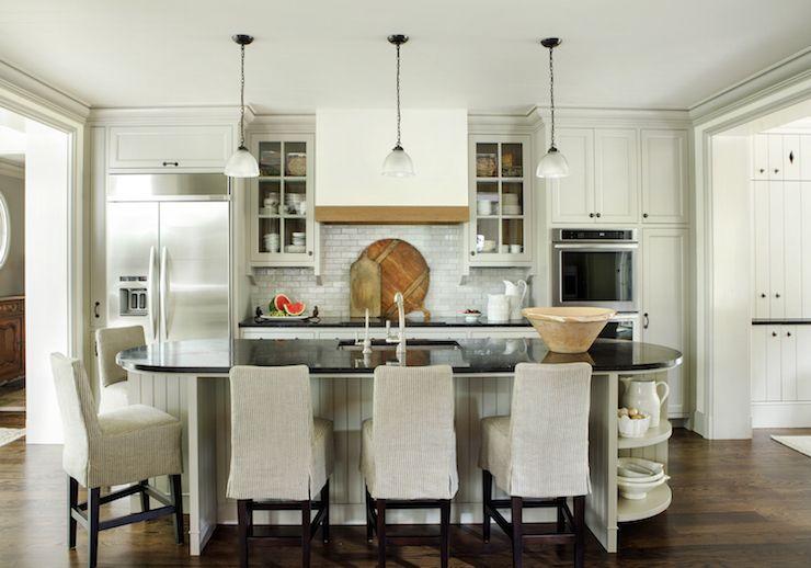 Lovely Kitchen Features Three Mini Glass Pendants Illuminating An
