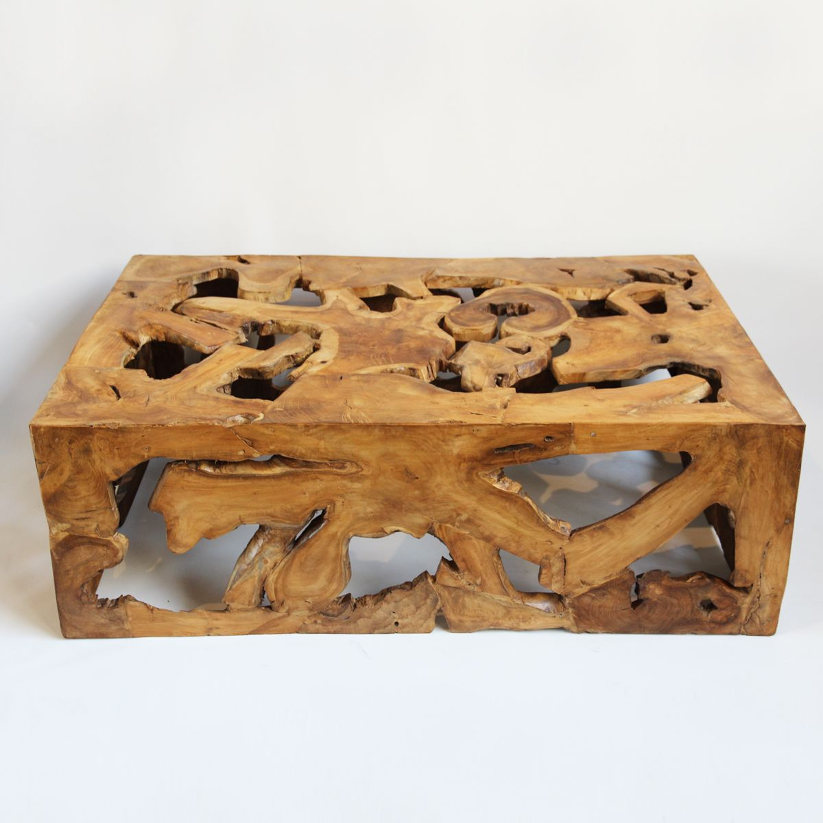 Solid teak root coffee table made from reclaimed slices pieced solid teak root coffee table made from reclaimed slices pieced together sealed and wax finish geotapseo Gallery