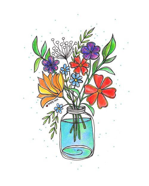 Wildflowers Watercolor Ink Drawings Watercolor Flowers