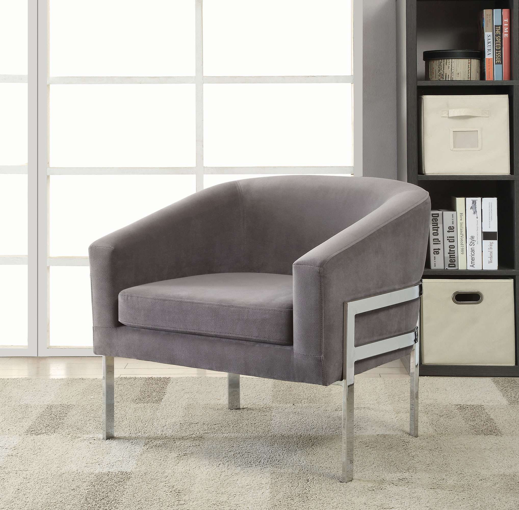 Coaster Black Barrel Accent Chair With Chrome Base And Gray Fabric