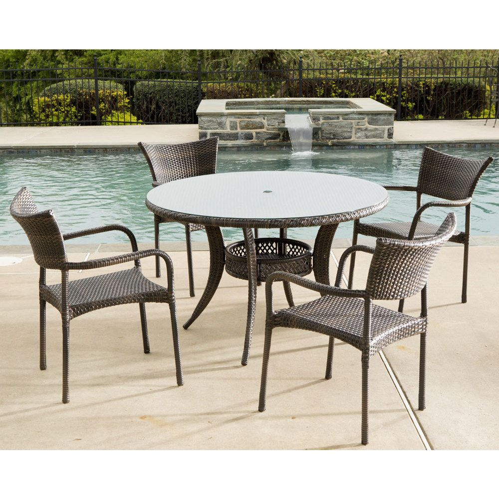 Tutto All Weather Wicker Set With Round Dining Table And 4 Arm Chairs 48 Beige Size 5 Piece Sets