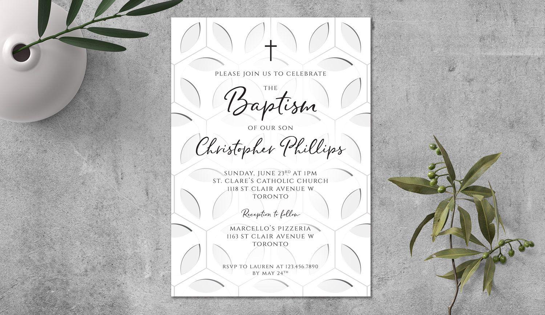 Baptism Invitation Floral Geometric