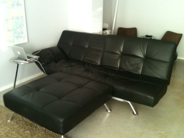 Ligne Roset Smala on Craigslist black leather and wottoman