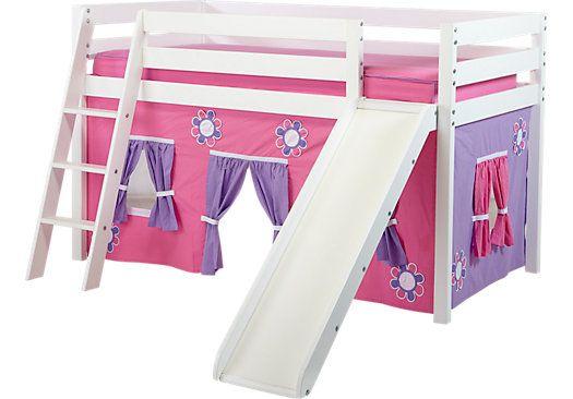 Pink Cottage White Loft Bed W Slide Bed With Slide Low Loft Beds Twin Loft Bed