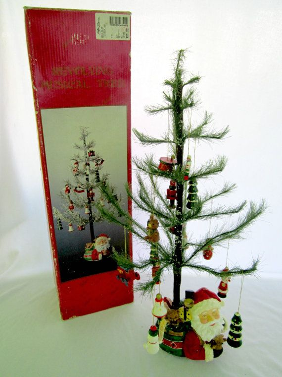 Christmas Tree Vintage Tabletop Musical Revolving Decorated A