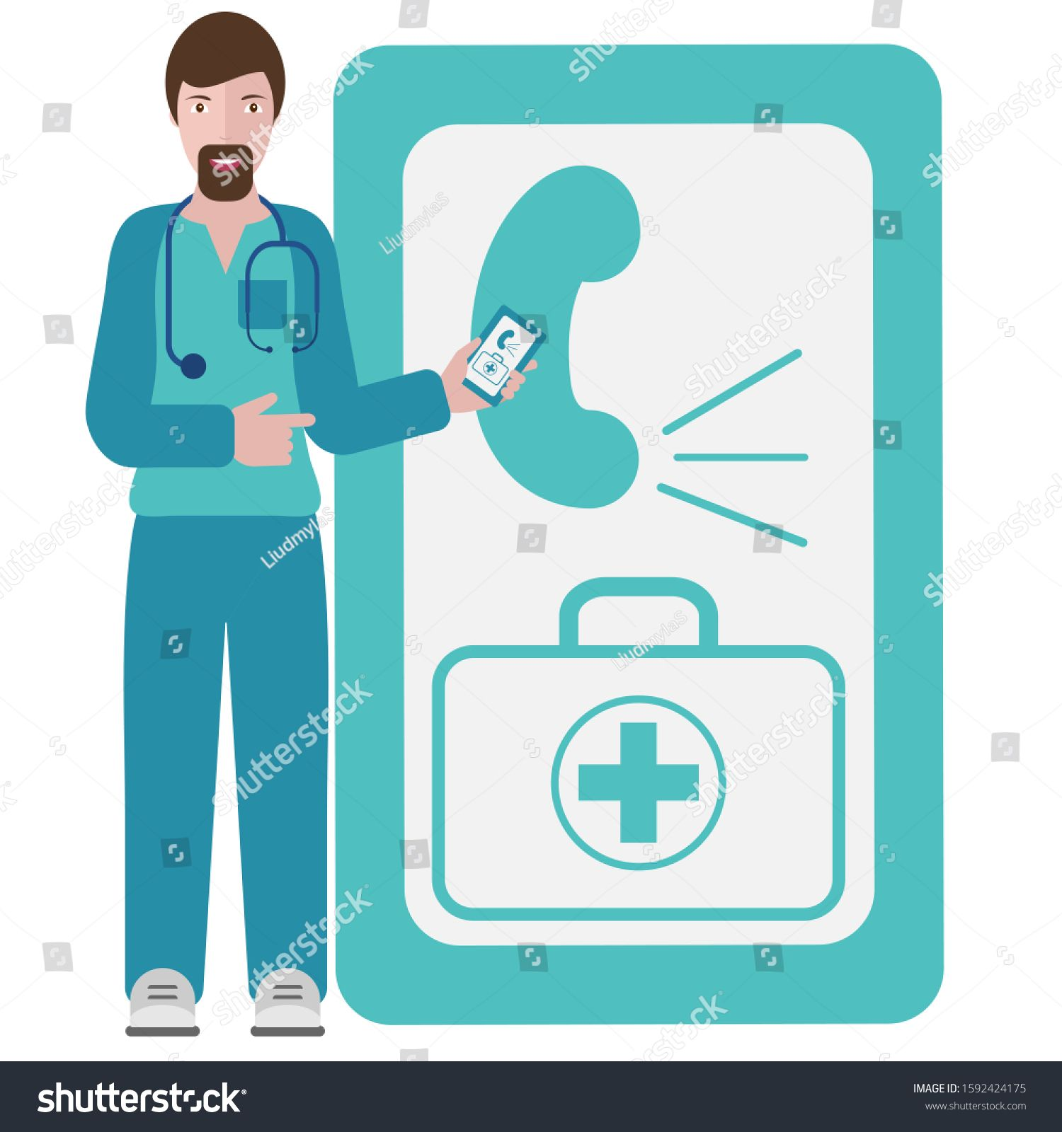 Vector Illustration Information Poster Doctor Online An Urgent Call To The Doctor The Concept Of Health Information Poster Business Ppt Vector Illustration