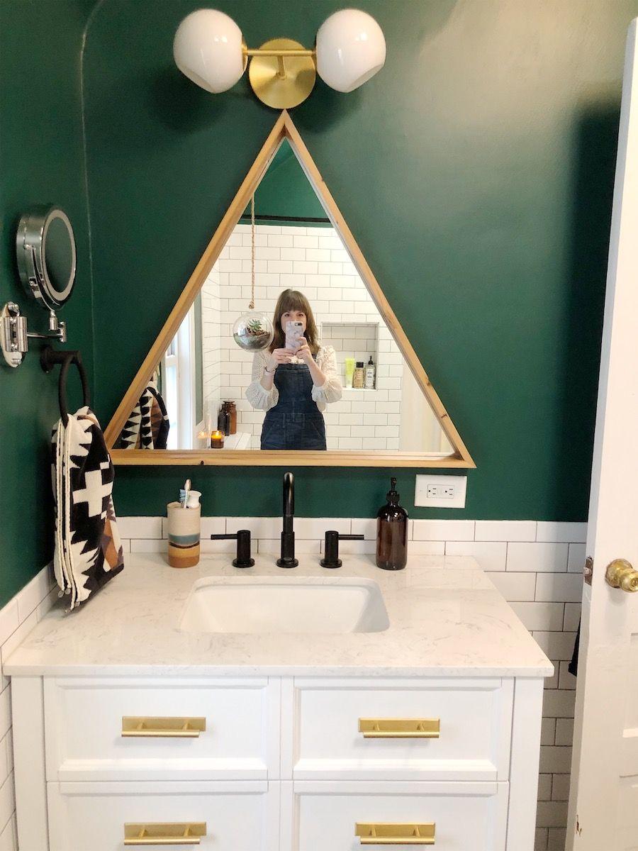 Before After A Beige Bathroom Gets A Deep Green Refresh Design Sponge In 2020 Green Bathroom Beige Bathroom Dark Green Bathrooms