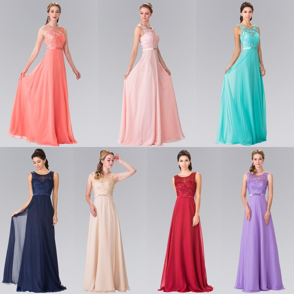Floor Length Beauty Chiffon scoop neck long sleeveless Bridesmaid dres – Frugal Mughal