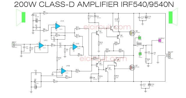 200w class d power amplifier irf540 irf9540 tampon ! ! pinterest200w class d power amplifer circuit diagram