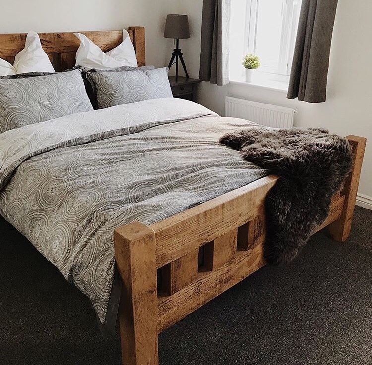 Chunky Rustic Wooden Bed Wooden Bedroom Furniture Bed