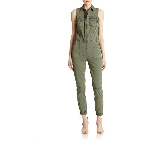 Guess Military Cargo Jumpsuit Women's Green 8 featuring polyvore fashion clothing jumpsuits green military green jumpsuit jumpsuits & rompers cargo jumpsuit guess jumpsuit jump suit