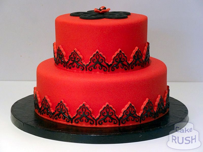 Groovy Red And Black Cake Red Fondant Cakes Cake Red Cake Birthday Cards Printable Benkemecafe Filternl
