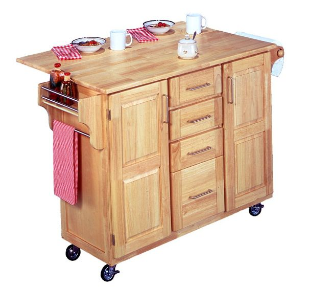 499 Wood Kitchen Island Cart With Drop Leaf Home Styles Via