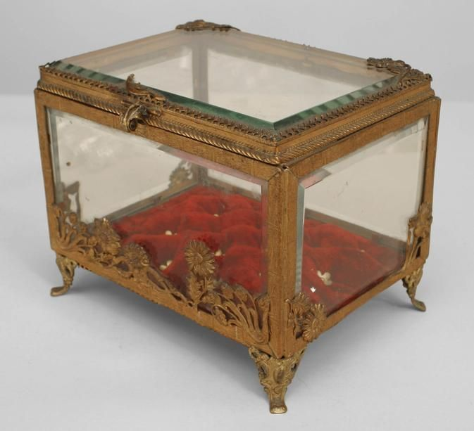 French Victorian accessories box brass