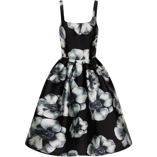 Chi Chi London Digital Floral Print Fit and Flare Dress (260 BRL) ❤ liked on Polyvore featuring dresses, black, women, fit flare dress, floral print dress, floral fit and flare dress, floral dresses and sleeveless floral dress