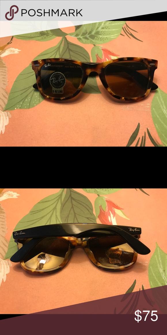 0a7d908f0f Ray-Ban Unisex Wayfarer Sunglass NWT RB 2140 F Faux Tortoise   Black Ray Ban