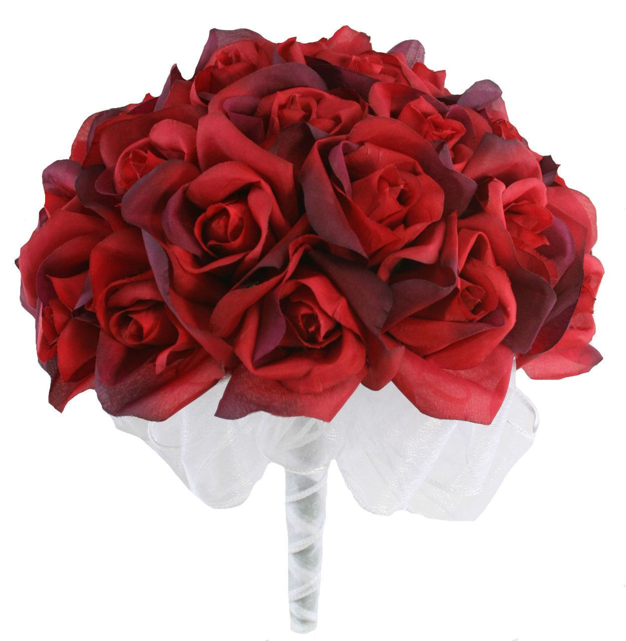 Christmas Red Velvet Rose Bouquet Wedding | Silk Wedding Flowers | Cheap Bridal Bouquets | Bridesmaid Bouquets | Artificial Wedding Bouquets | Buffalo Plaid Ribbon (Two Dozen Roses) #silkbridalbouquet
